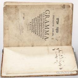 Balmes, Abraham ben Meir de [aka: Abram Mikneh] (d.1523) Peculium Abrae. Grammatica Hebraea.