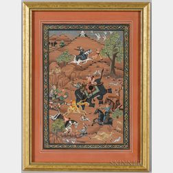 Miniature Painting of a Hunting Scene