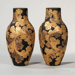 Pair of Wedgwood Auro Basalt Vases