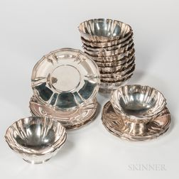 Twelve Tiffany & Co. Sterling Silver Bowls and Undertrays