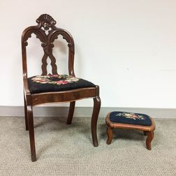 Rococo Revival Carved Walnut Side Chair and Stool