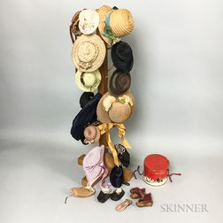 Group of Doll's Hats and Hat Rack