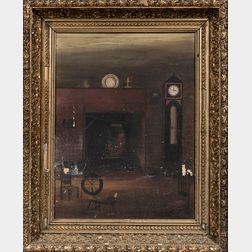 American or Continental School, 19th Century    A Hearthside Interior