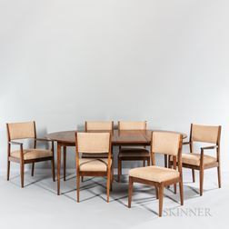 Charak Modern Walnut Dining Table and Six Chairs