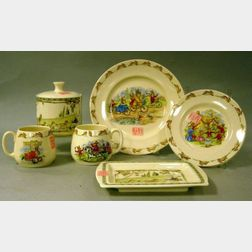 Five Royal Doulton Bunnykins Table Items and a Minton Golden Days Tray and Covered   Jar