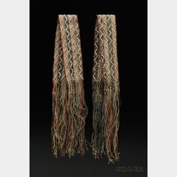 Pair of Great Lakes Finger-woven Beaded Wool Sashes