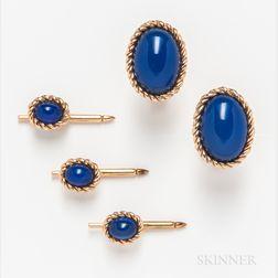 14kt Gold and Blue Glass Men's Dress Set