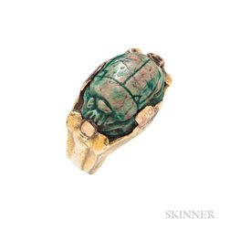18kt Gold and Faience Scarab Ring