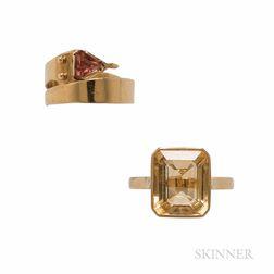 Two 18kt Gold Gem-set Rings