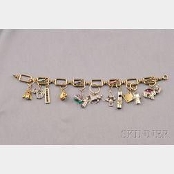 Gem-set and Enamel Charm Bracelet