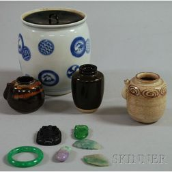 Six Jade and Stone Items and Four Ceramic Japanese Tea Ceremony Items