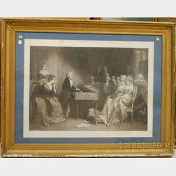 Large Framed Alfred Chardon Steel Engraving Mozart a Vienne