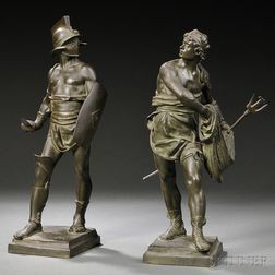 After Eugene Marioton (French, 1854-1933)       Two Bronze Figures: Warrior and Fisherman