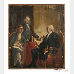 Constantino Brumidi (Italian/American, 1805-1880)       Study for George Washington with Jefferson and Hamilton