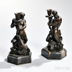 Pair of Bronze Neptune Candlesticks