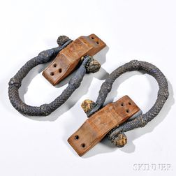 Pair of Carved Mahogany and Painted Ropework Becket Handles