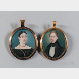 George Spieler (Pennsylvania, active c. 1839-1840)      Pair of Miniature Portraits of a Man and Woman