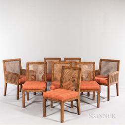 Eight John Widdicomb Burlwood-veneered Cane-back Dining Chairs