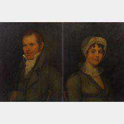 Ethan Allen Greenwood (Massachusetts 1779-1856), Pair of Portraits of Sally Shurtleff and her Husband Dr. Benjamin Shurtleff (3d) (1774