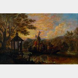 Edward Ashton Goodes (American, 1832-1910)    The Rural Ferry