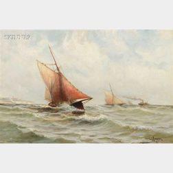 Otis S. Weber (American, fl. 1879-1890)      Headed for the Harbor