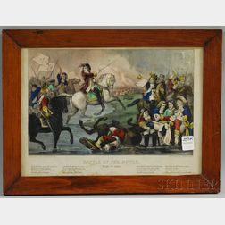 Framed Currier & Ives Small Folio Hand-colored Lithograph Battle of the Boyne,   July 1st 1690.