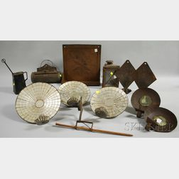 Group of Iron, Tin, and Glass Lighting and Hearth Implements
