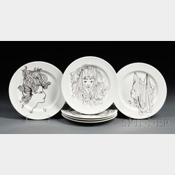 Set of Six Jean Cocteau for Christofle Plates