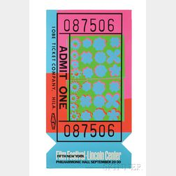 Andy Warhol (American, 1928-1987)      Lincoln Center Ticket