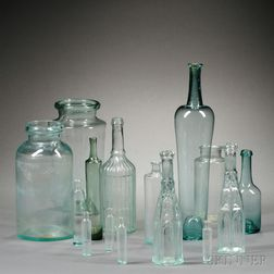 Sixteen Free-blown or Blown-molded Glass Items