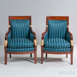 Pair of Russian Empire-style Mahogany and Giltwood Armchairs