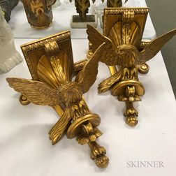 Pair of Giltwood Eagle Wall Brackets