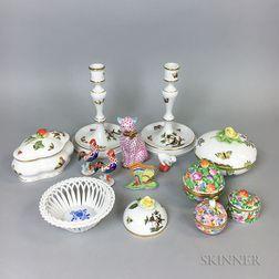Thirteen Pieces of Herend Porcelain
