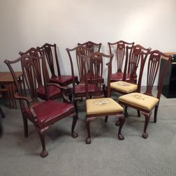Set of Nine Colonial Revival Mahogany Dining Chairs