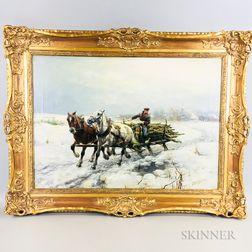 Dirk Meesters (British, 1899-1950)    Sleigh Ride Through a Snowy Field