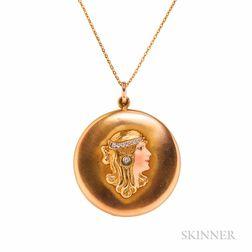 Art Nouveau 14kt Gold, Enamel, and Diamond Locket