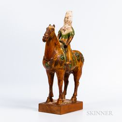 Sancai-glazed Pottery Figure of Horse and Female Rider