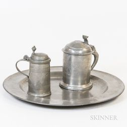 Two Pewter Tankards and a Pewter Charger