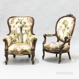 Rococo Revival Upholstered Walnut Fauteuil and Bergere