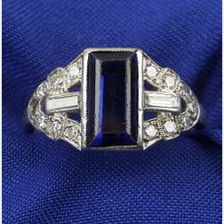 Art Deco Synthetic Sapphire and Diamond Ring