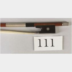 French Silver Mounted Violin Bow, Eugene Sartory, c.1930