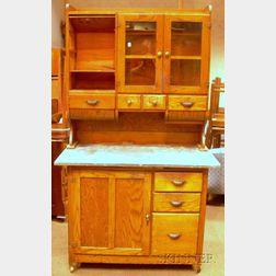Early 20th Century Hoosier-type Oak Two-part Kitchen Cabinet
