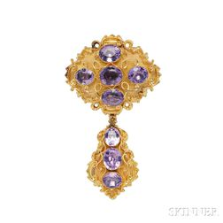 Gold and Amethyst Brooch