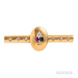 Antique 18kt Gold Gem-set Bar Pin, T.B. Starr