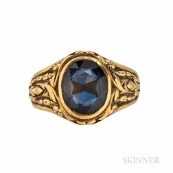 18kt Gold and Synthetic Sapphire Ring