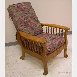 Late Victorian Carved Oak Adjustable-back Morris Chair