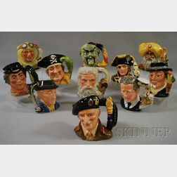 Eleven Large Royal Doulton Ceramic Character Jugs