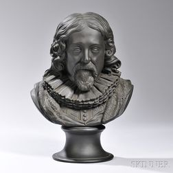 Wedgwood Black Basalt Library Bust of Francis Bacon