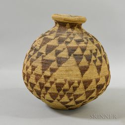 Woven Covered Olla-shaped Basket