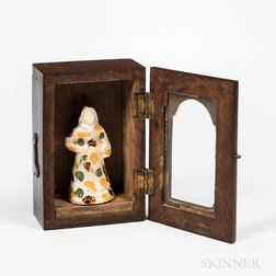 Mahogany Watch Hutch with a Pearlware Figure of a Woman
